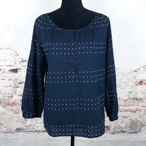 Talbots M Navy White Black Embroidered Dot Top